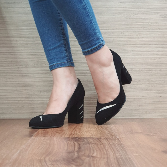 Pantofi cu toc Piele Naturala Moda Prosper Negri Olimpia D02474 2