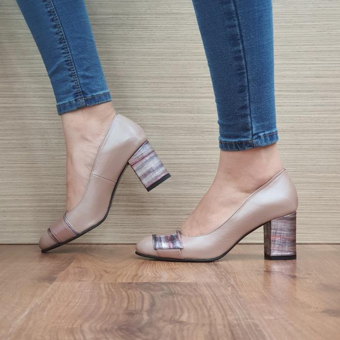 Pantofi cu toc Piele Naturala Moda Prosper Roz Hemilly D02473 1