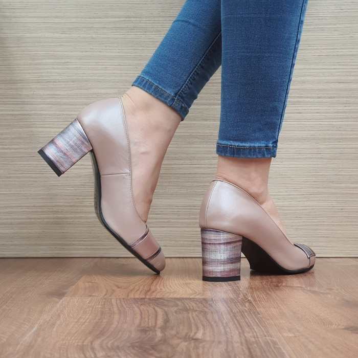 Pantofi cu toc Piele Naturala Moda Prosper Roz Hemilly D02473 3