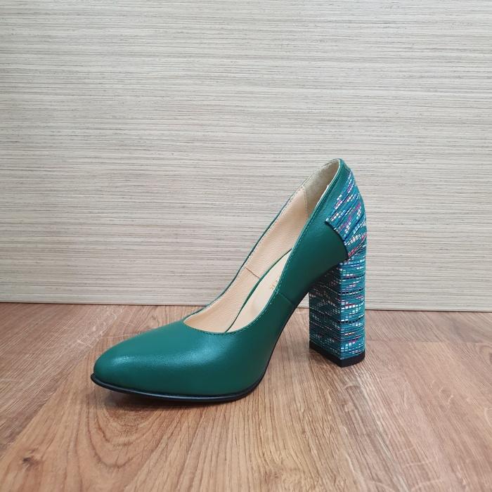 Pantofi cu toc Piele Naturala Moda Prosper Verzi Melisandre D02486 2