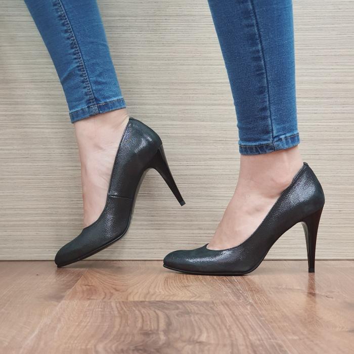 Pantofi cu toc Piele Naturala Negri Alla D02484 1