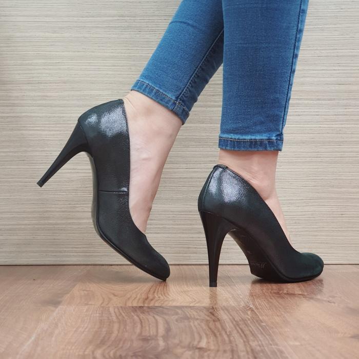 Pantofi cu toc Piele Naturala Negri Alla D02484 3