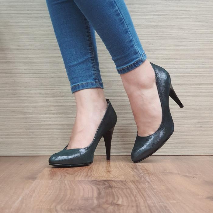 Pantofi cu toc Piele Naturala Negri Alla D02484 2
