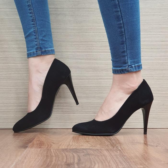 Pantofi cu toc Piele Naturala Negri Alla D02485 [1]