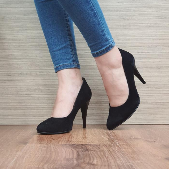 Pantofi cu toc Piele Naturala Negri Alla D02485 [2]