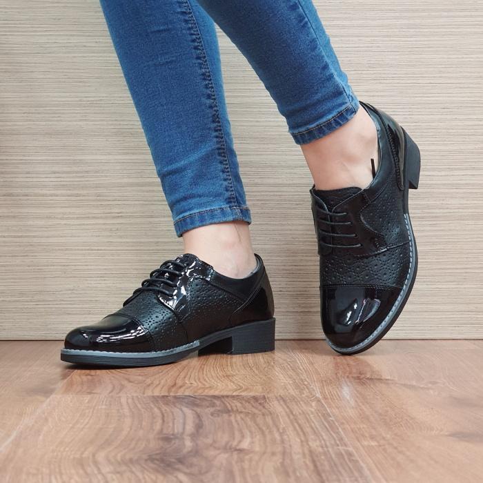 Pantofi Oxford Piele Naturala Negri Anita D02515 2