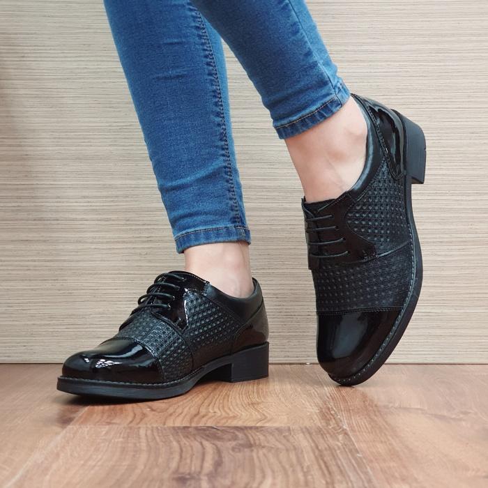 Pantofi Oxford Piele Naturala Negri Anita D02521 2