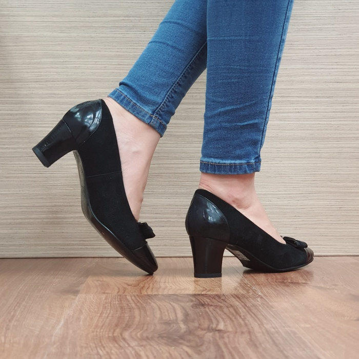 Pantofi cu toc Piele Naturala Negri Corina D02494 3
