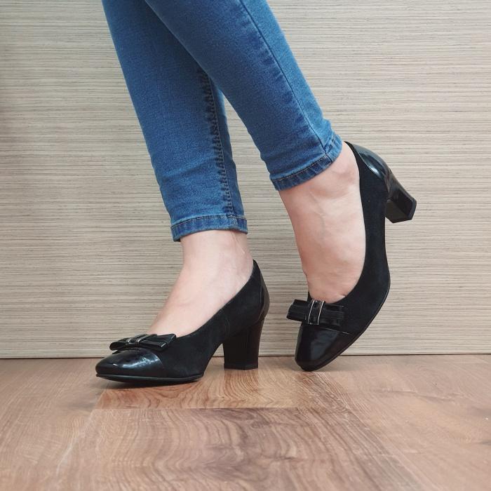 Pantofi cu toc Piele Naturala Negri Corina D02494 2