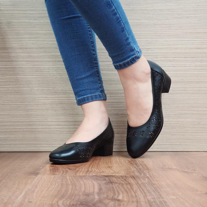 Pantofi Dama Piele Naturala Negri Judy D02455 2