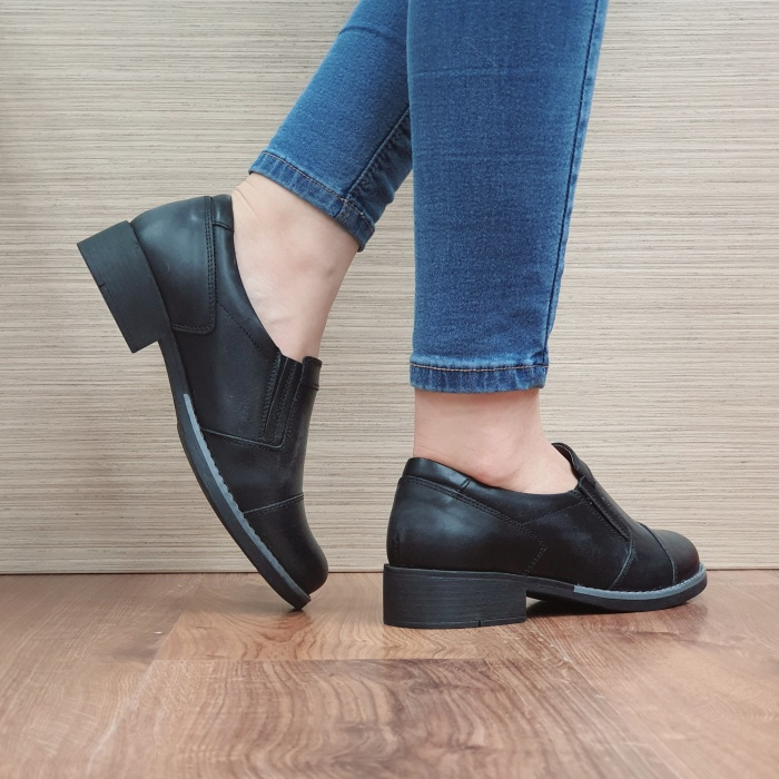 Pantofi Casual Piele Naturala Negri Lucille D02468 [3]
