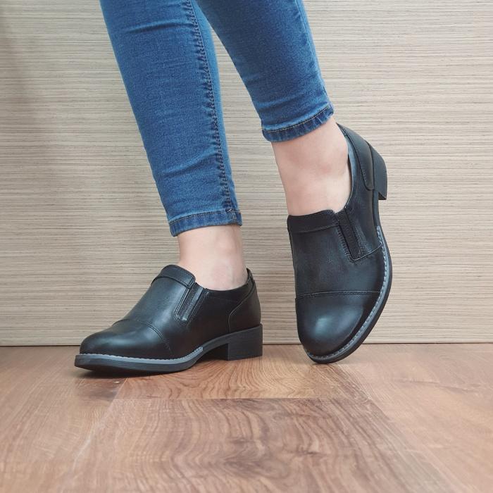 Pantofi Casual Piele Naturala Negri Lucille D02468 [2]