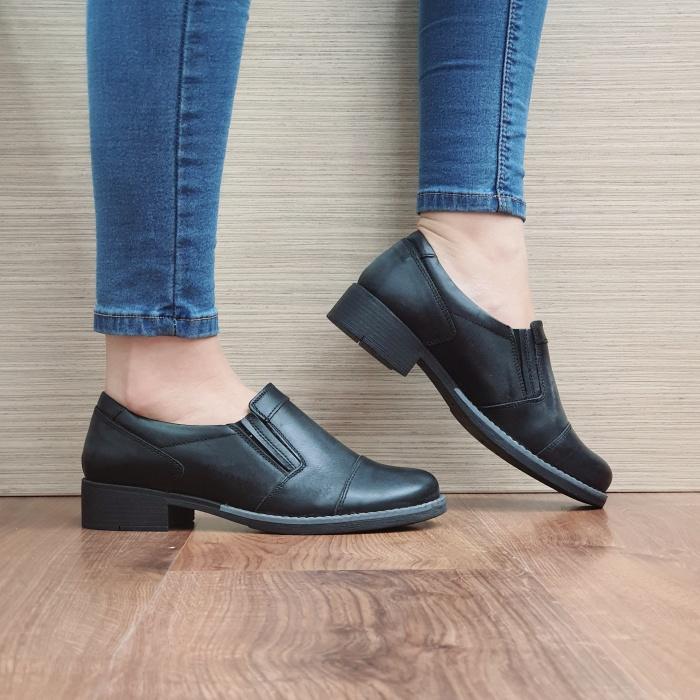 Pantofi Casual Piele Naturala Negri Lucille D02468 [0]