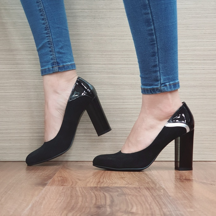 Pantofi cu toc Piele Naturala Negri Oana D02483 1