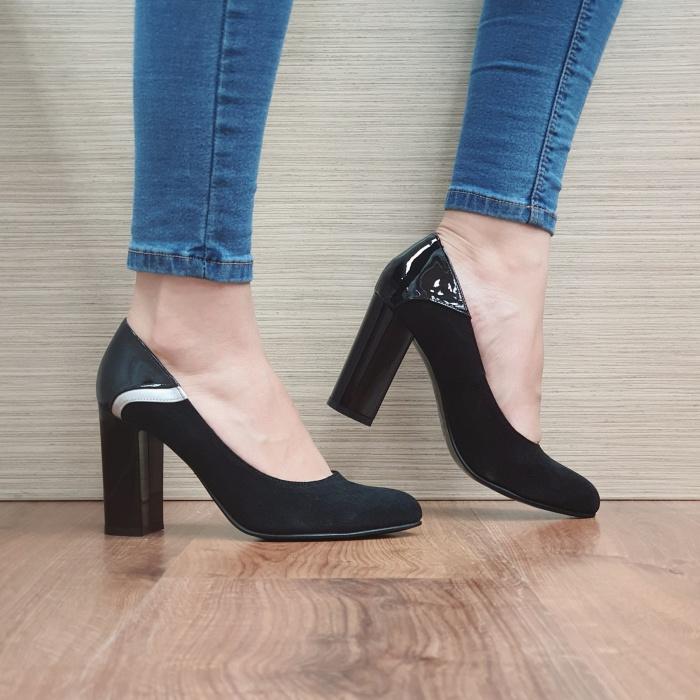 Pantofi cu toc Piele Naturala Negri Oana D02483 0