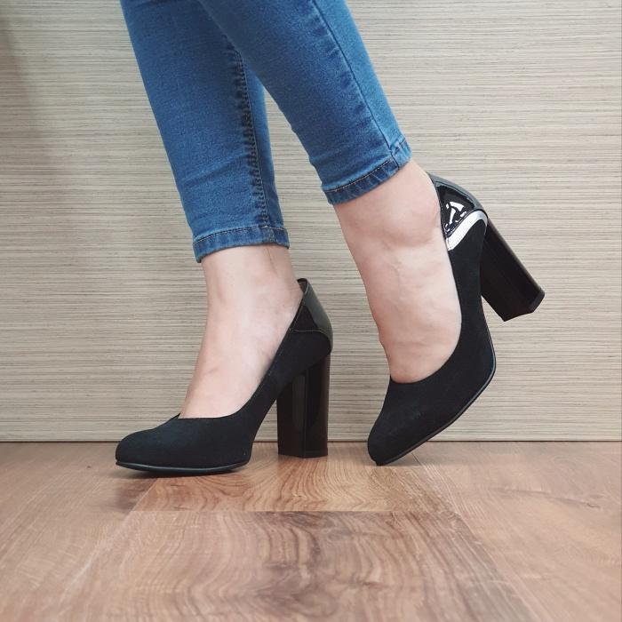 Pantofi cu toc Piele Naturala Negri Oana D02483 2