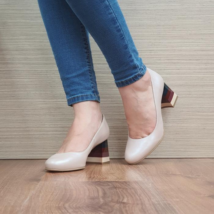 Pantofi cu toc Piele Naturala Nude Ioana D02493 2