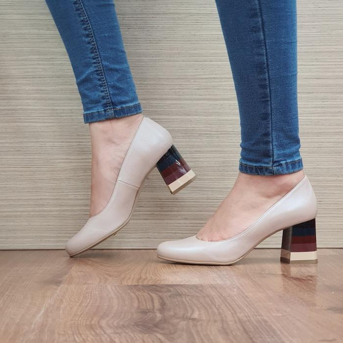 Pantofi cu toc Piele Naturala Nude Ioana D02493 1