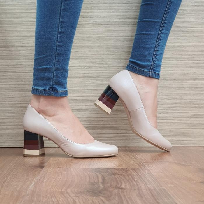 Pantofi cu toc Piele Naturala Nude Ioana D02493 0