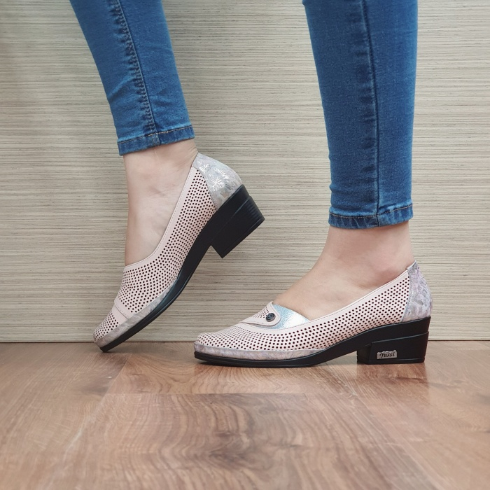 Pantofi cu toc Piele Naturala Nude Viara D02465 [1]