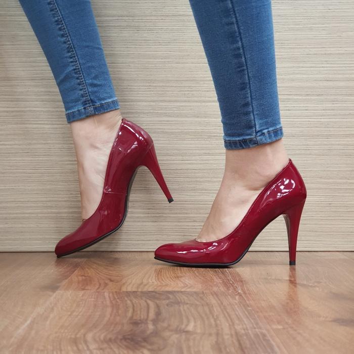 Pantofi cu toc Piele Naturala Rosii Alla D02478 1