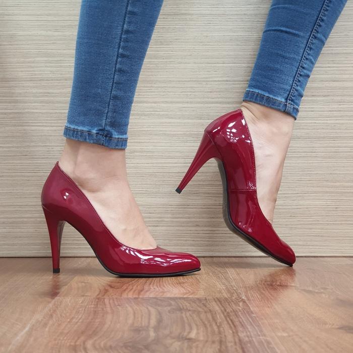 Pantofi cu toc Piele Naturala Rosii Alla D02478 0
