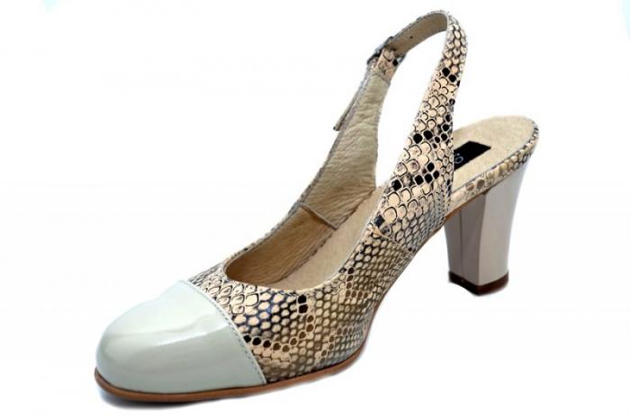 Pantofi Dama Piele Naturala Crem Aimee D01350 2