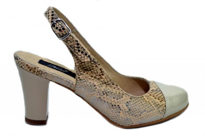 Pantofi Dama Piele Naturala Crem Aimee D01350 0