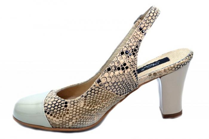 Pantofi Dama Piele Naturala Crem Aimee D01350 1