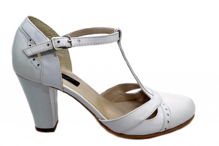 Pantofi Dama Piele Naturala Albi Rebecca D01291 0