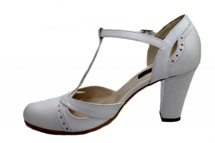 Pantofi Dama Piele Naturala Albi Rebecca D01291 1