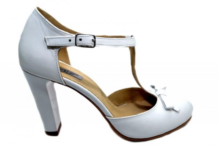 Pantofi Dama Piele Naturala Albi Rebecca D01293 0