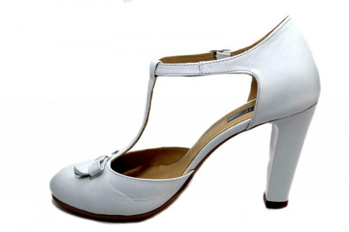 Pantofi Dama Piele Naturala Albi Rebecca D01293 1