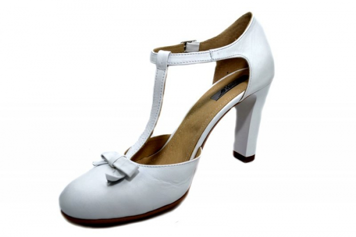 Pantofi Dama Piele Naturala Albi Rebecca D01293 2