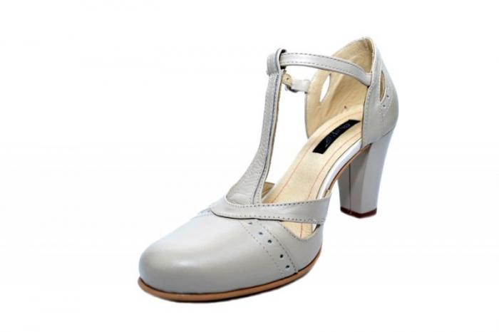 Pantofi Dama Piele Naturala Bej Rebecca D01680 2