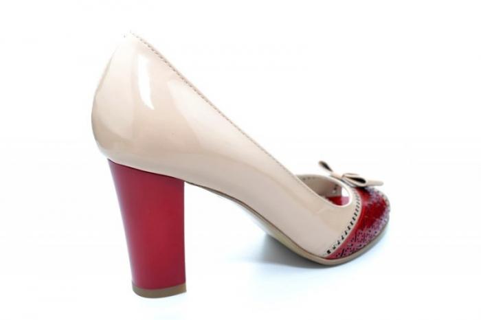 Pantofi cu toc Piele Naturala Bej Roberta D01170 3