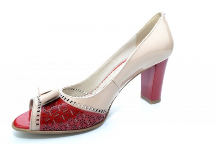 Pantofi cu toc Piele Naturala Bej Roberta D01170 2