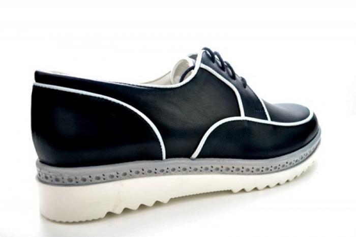 Pantofi Casual Piele Naturala Bleumarin Prego Roma D01143 [2]