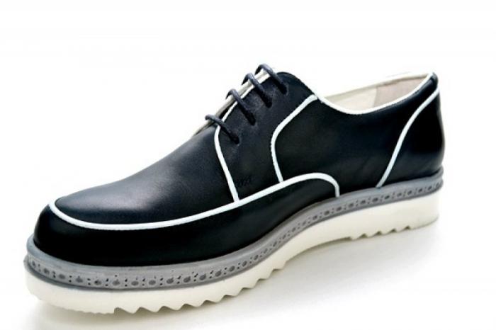 Pantofi Casual Piele Naturala Bleumarin Prego Roma D01143 [3]