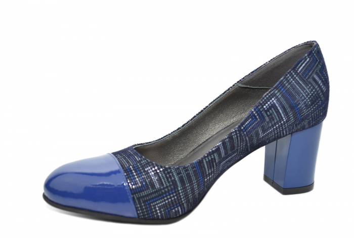 Pantofi cu toc Piele Naturala Bleumarin Moda Prosper Sarama D02071 2