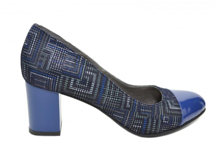 Pantofi cu toc Piele Naturala Bleumarin Moda Prosper Sarama D02071 [0]