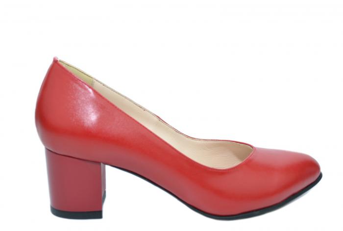 Pantofi cu toc Piele Naturala Rosii Moda Prosper Selena D02073 0