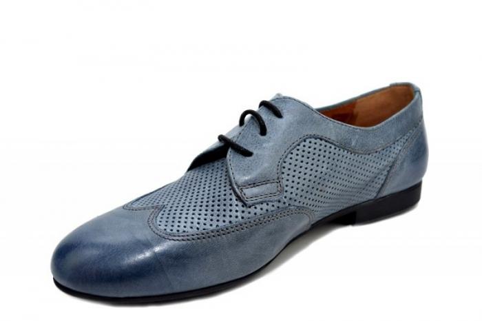 Pantofi Casual Piele Naturala Albastri Serena D01346 2