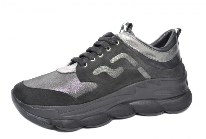 Pantofi Casual Piele Naturala Negri Silviana D02080 2