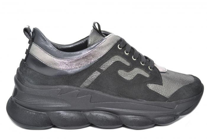 Pantofi Casual Piele Naturala Negri Silviana D02080 0