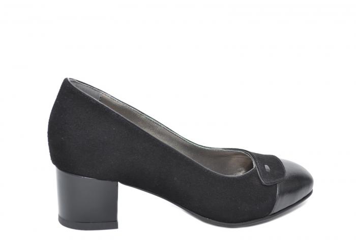 Pantofi cu toc Piele Naturala Negri Moda Prosper Simina D02075 [2]