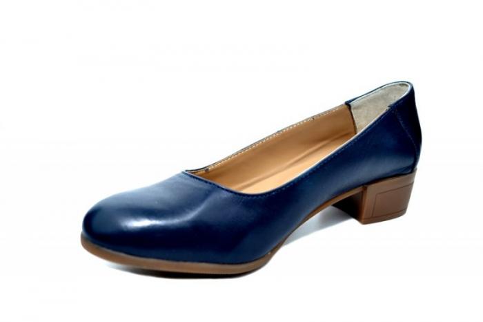 Pantofi cu toc Piele Naturala Bleumarin Siri D01750 2