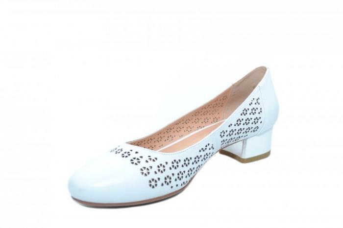 Pantofi cu toc Piele Naturala Albi Epica Tamara D01864 2