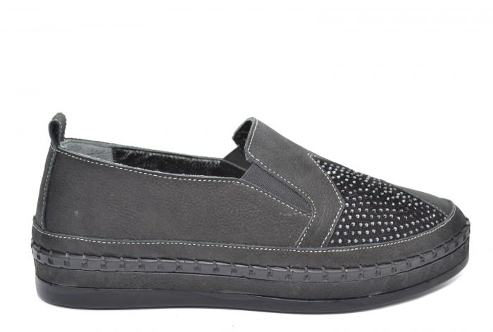 Pantofi Casual Piele Naturala Negri Tereza D02081 [0]