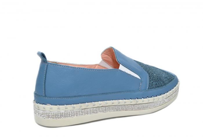 Pantofi Casual Piele Naturala Albastri Tereza D02082 3